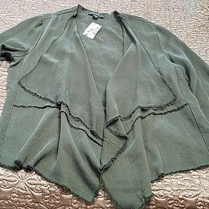 Roll sleeve drape front jacket